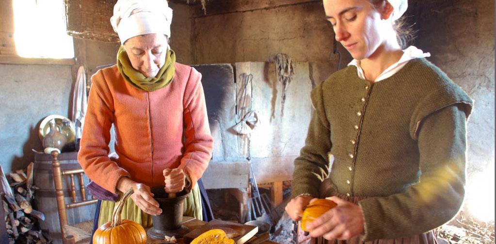 Copy of Malka|Copy of Pilgrims preparing pumpkins