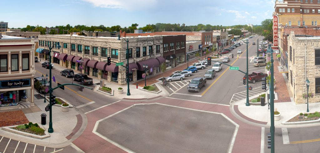 Intersection in downtown Manhattan, KS.