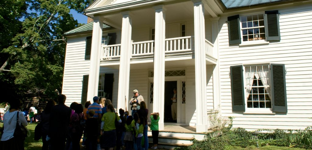Visitors line up to tour Sam Davis Home in Smyrna, Tennessee. The home is the former home of Confederate Civil War soldier, Sam Davis, and his family.