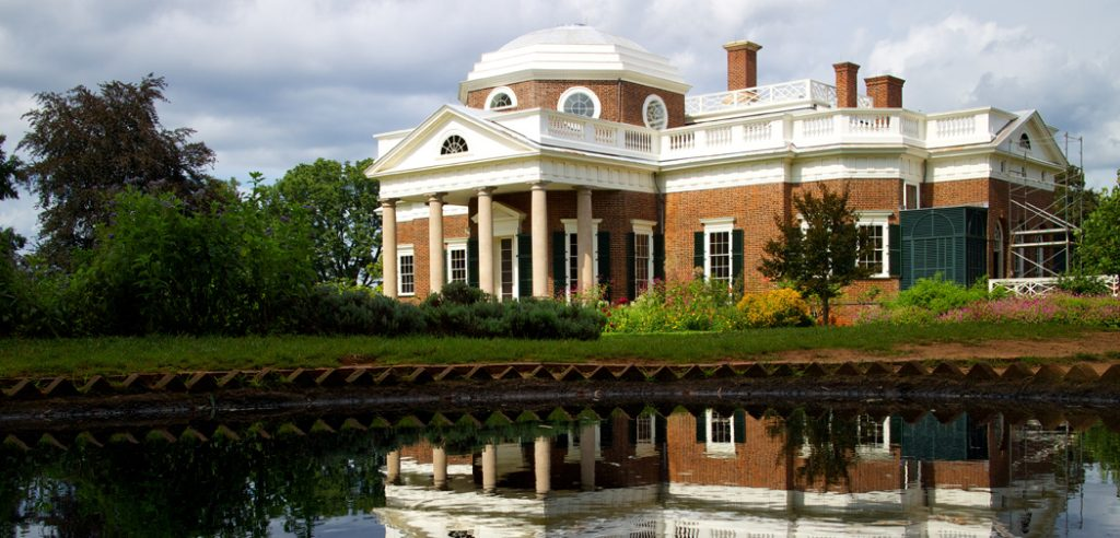 Monticello reflected in a pond