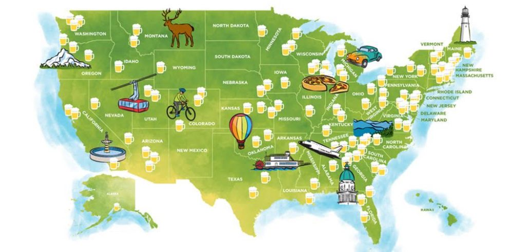 A map of the US showing where the best beers are located with little beer mugs denoting cities.