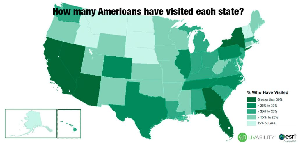 A map based on a data survey of many states has an average American visited